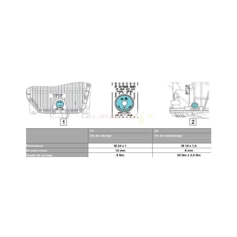 kit vidange zf pour boite automatique bmw s rie 5 e60 530 d. Black Bedroom Furniture Sets. Home Design Ideas