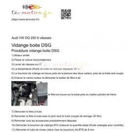 Procédure de vidange de boite DSG 6 vitesses DQ 250