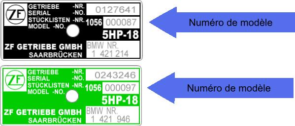 Plaque identification boite à vitesses ZF 5HP18