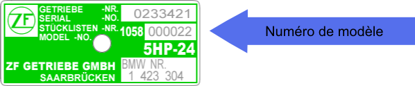 Plaque d'identification transmission ZF